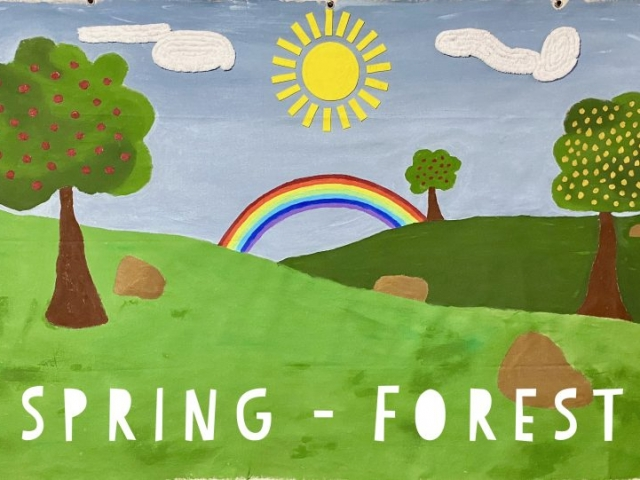 Great Spring Forest Background to personalize your puppet show!