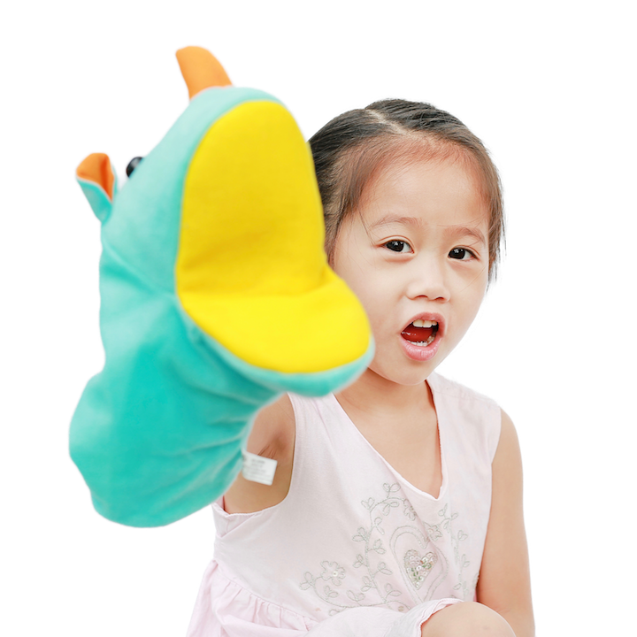 Little Girl with Hand Puppet
